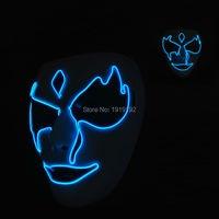 Neue stil maskerade dc-3v sound aktiviert el draht geistermaske glowing festival led neon glowing partei maske halloween liefert