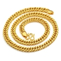 Thick Chain  Yellow Gold Filled Heavy Mens Necklace Double Cuban Chain 24 in