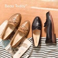 BeauToday รองเท้า Loafers พู่กันตกแต่ง Bowknot Moccasin ของแท้หนัง Sheepskin ชี้ Toe Lady ลื่นบนรองเท้า 27031