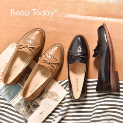 BeauToday Women Loafers Tassel Bowknot Decoration Moccasin Genuine Leather Sheepskin Pointed Toe Lady Flats Slip On Shoes 27031