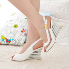 Fashion hollow with wedges women's sandals transparent bright leather color matching shoes high heels large size.