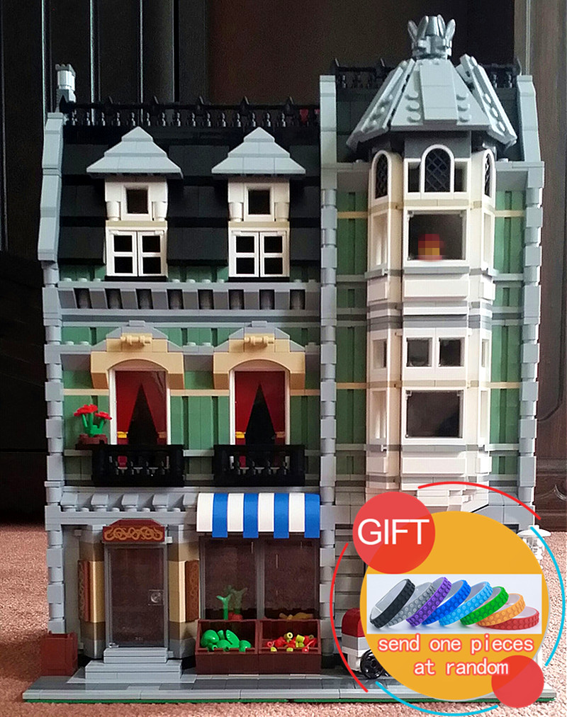 15008 2462Pcs City Street Green Grocer set Compatible with 10185 Model Educational Building Kits Blocks Toys dhl lepin15008 2462pcs city street green grocer model building kits blocks bricks compatible educational toy 10185 children gift