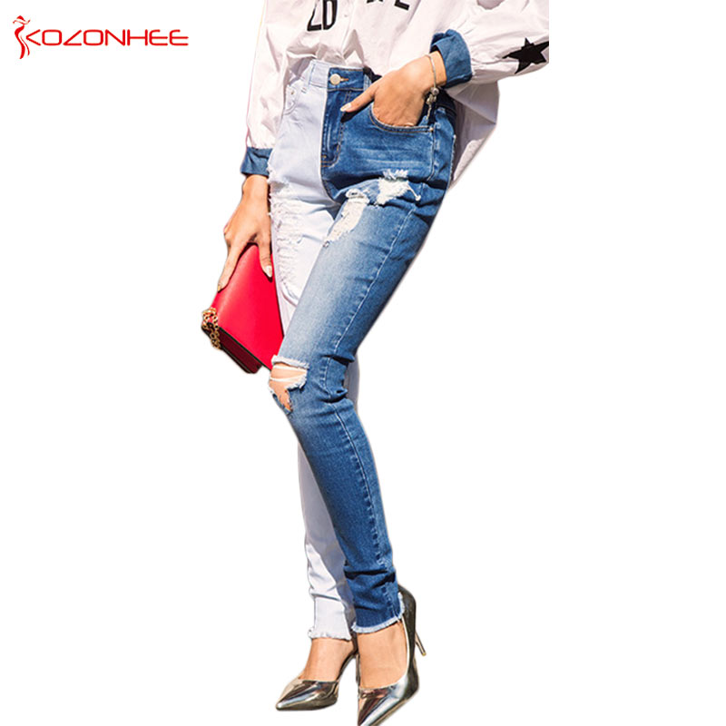 Double color Bule Stretch Jeans Women Hole Ripped High Wais jeans Elasticity Skinny Pencil Women Jeans