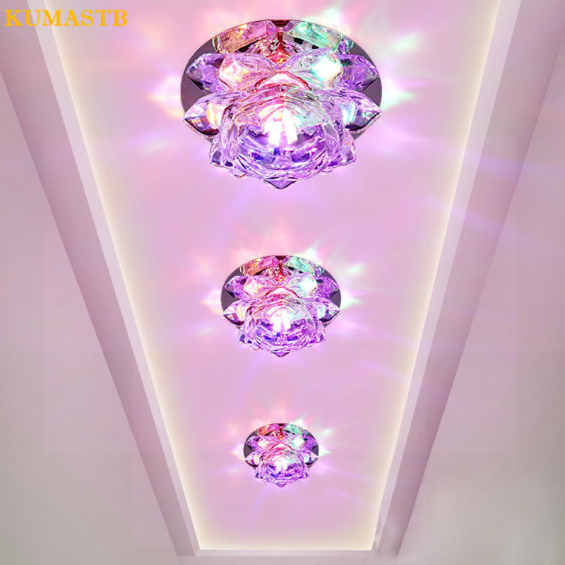 Embedded Surface Mount 3W LED Ceiling Lights Aisle Entrance Balcony Plafonnier LED Crystal Ceiling Lamps Living Room Down Light