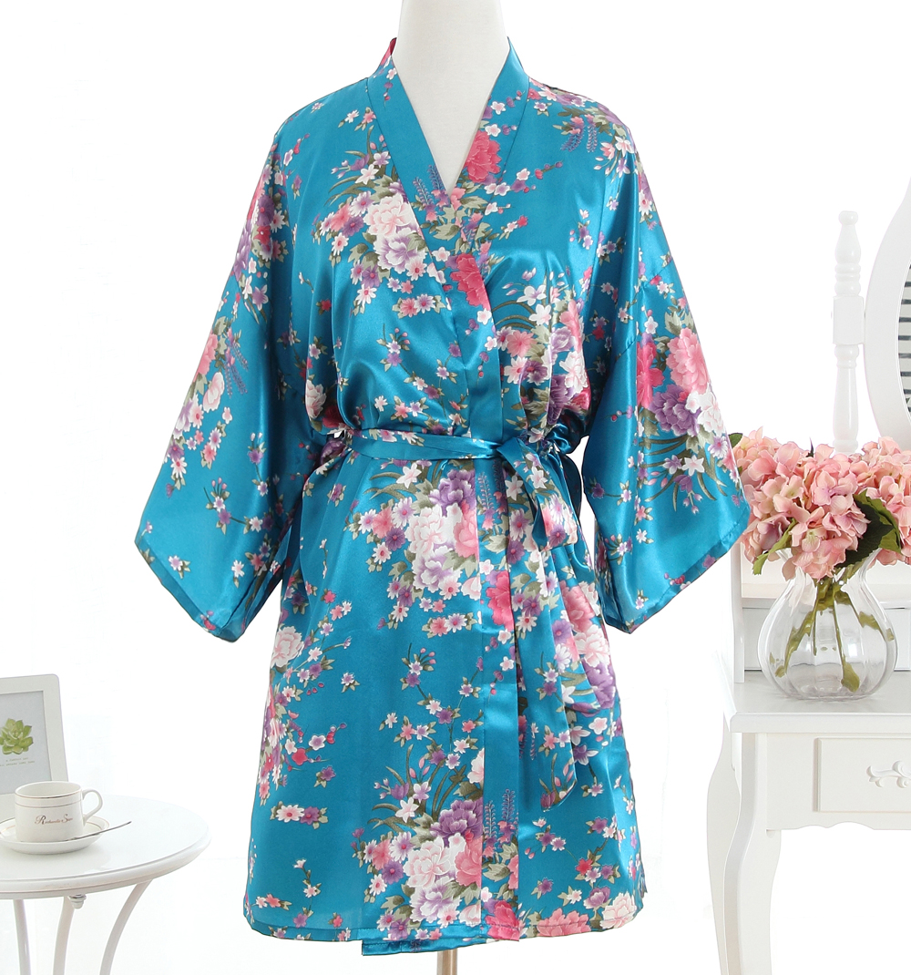 Vintage Bayanlar Saten Kısa Gecelik Pijama çin Kadın Robe Elbise