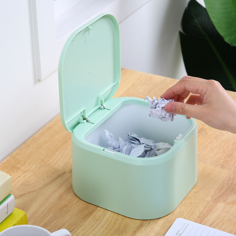 Desktop Garbage Container Mini Plastic Countertop Trash Can Kitchen Waste Bin with Press Lid for Home Office Car|Waste Bins| |  - title=