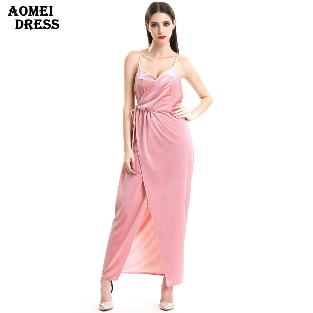 Women Velvet Sling V-Neck Backless 2019 <font><b>Sexy</b></font> Spring Long <font><b>Dress</b></font> <font><b>Ladies</b></font> Slim Fashion Party Wear to Work Draped <font><b>Dresses</b></font> Vestidos image