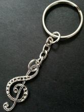 Hot Vintage Silver Charm Treble Clef Music Note Keychain For Keys Car Key Ring Souvenir Gifts Couple Handbag Key Chains Z463