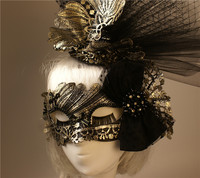 Exaggerated headdress mask beauty flamboyant half face Halloween Venetian party ballroom banquet mask
