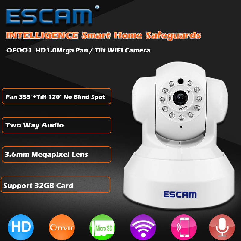ESCAM QF001 Mini WiFi IP Camera HD 720P CCTV Security Camera System P2P IR Cut Two Way Audio Micro SD Card Slot Night Vision easyn a115 hd 720p h 264 cmos infrared mini cam two way audio wireless indoor ip camera with sd card slot ir cut night vision