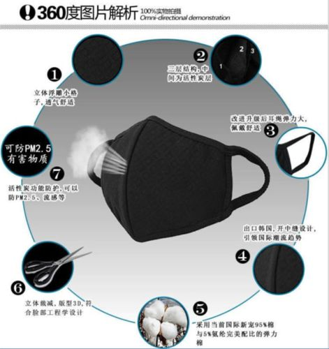 Unisex Mannen Vrouwen Fietsen Anti-Dust Cotton Sport Mond Gezicht Gaas Masker Cool YU