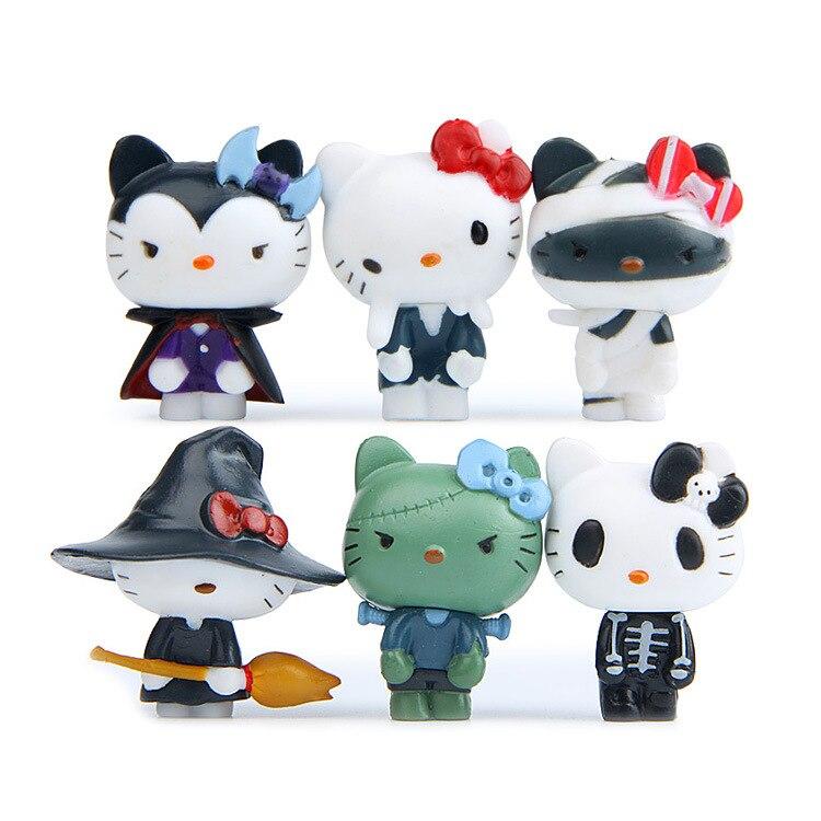 Kawaii 6 Pcs/set KT Cats  Action Figure Cartoon Toys Girls Set Anime Cute Christmas Halloween Party Supply For Kid Figures