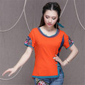 2016 Casual Short-sleeved T-shirt Summer New Fashion Round Collar Cotton Women's Plate Buttons Split Clothes 2XL