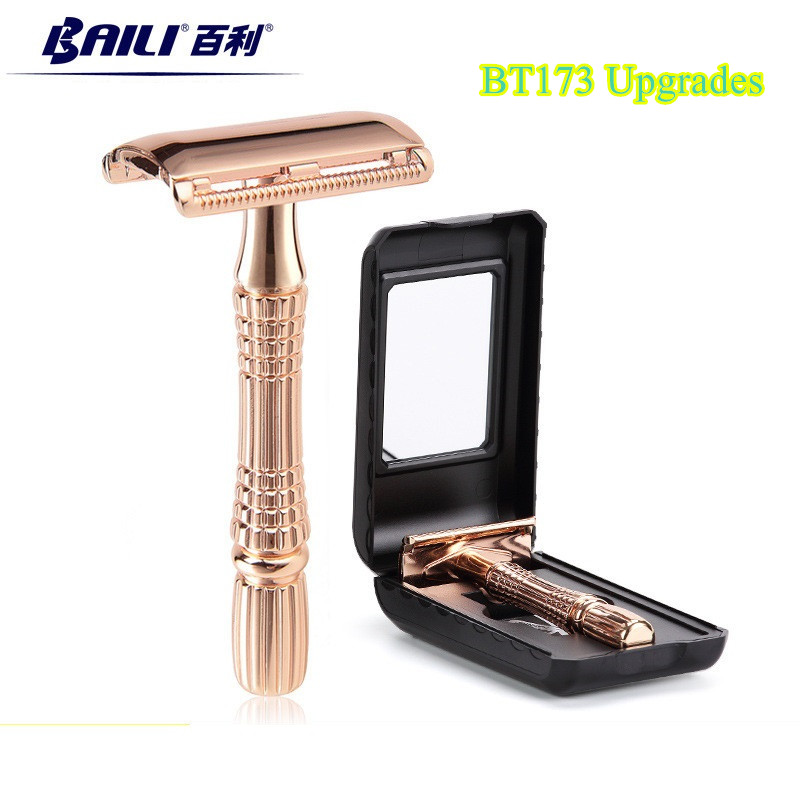 BAILI Manual Safety Razor Shaving Razor Men Shaver Handle Holder Stainless Double Edge Xmas Gift +1 Blade +1 Case BT173 Upgrades