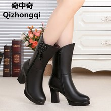 2017 new genuine leather women winter boots wool lined fashion women fringed boots high heeled female