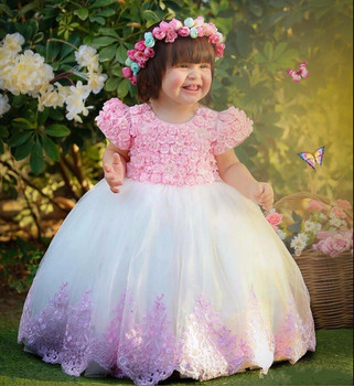 Lovely Flower Flower Girl Dress with 3D Floral Appliques Pearls Zipper Back Short Sleeves Little Girls Pageant Gowns Custom Made