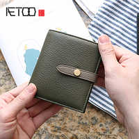 AETOO Goatskin Wallet Women's belt buckle hit color leather card bag short simple small wallet