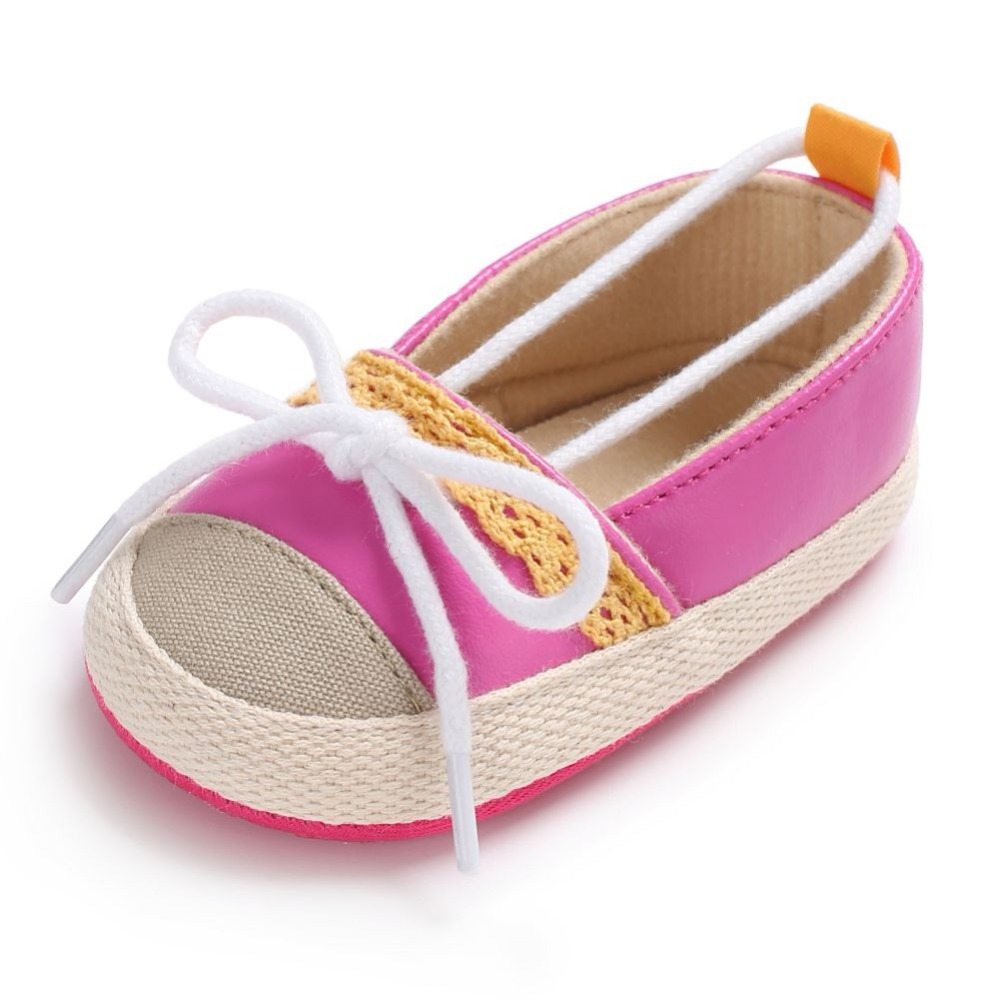 WEIXINBUY Baby Girls Shoes First Walkers Slip-on Canvas Butterfly-knot Crib Shoes Baby Moccasins 0-6M