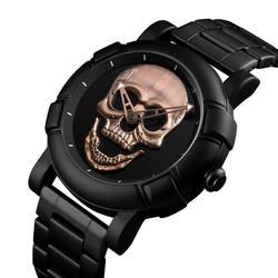 Прохладный Череп мужской роскошный бренд часов кварцевые электронные часы Сталь черный в стиле милитари женские мужские наручные часы
