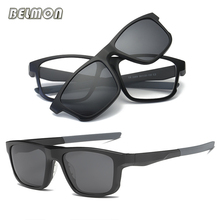 Belmon Spectacle Frame Men Women Eyeglasses With Polarized Clip On Sunglasses Magnetic Glasses Male Prescription Optical RS486
