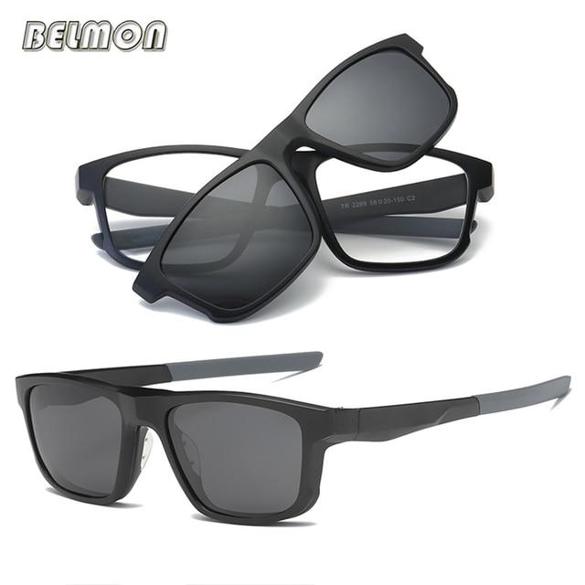 36c2c0962b Belmon Spectacle Frame Men Women Eyeglasses With Polarized Clip On Sunglasses  Magnetic Glasses Male Prescription Optical RS486