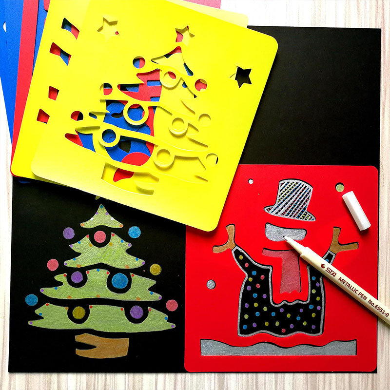 High Quality Plastic DIY Painting Template Boards Car Animal Christmas Trees Drawing Toys For Children Home School Stationery