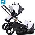 Babysing alta paisagem 2 em 1 carrinho de criança carrinhos de rodas à prova de choque portátil carrinho de bebê e pram bonito teto com berço
