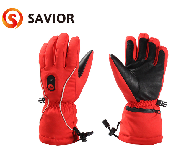 Savior women heated glove 5 finger back side heating for riding skiing golf outdoor sports winter great warm feeling Genuine red