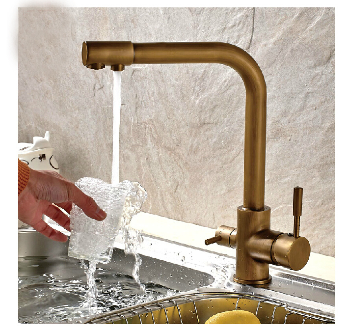 High Quality Antique Brass Kitchen Faucet Hot & Cold Vessel Mixer Tap Pure Water Spout Vanity Faucet Hot Sale golden brass kitchen faucet dual handles vessel sink mixer tap swivel spout w pure water tap