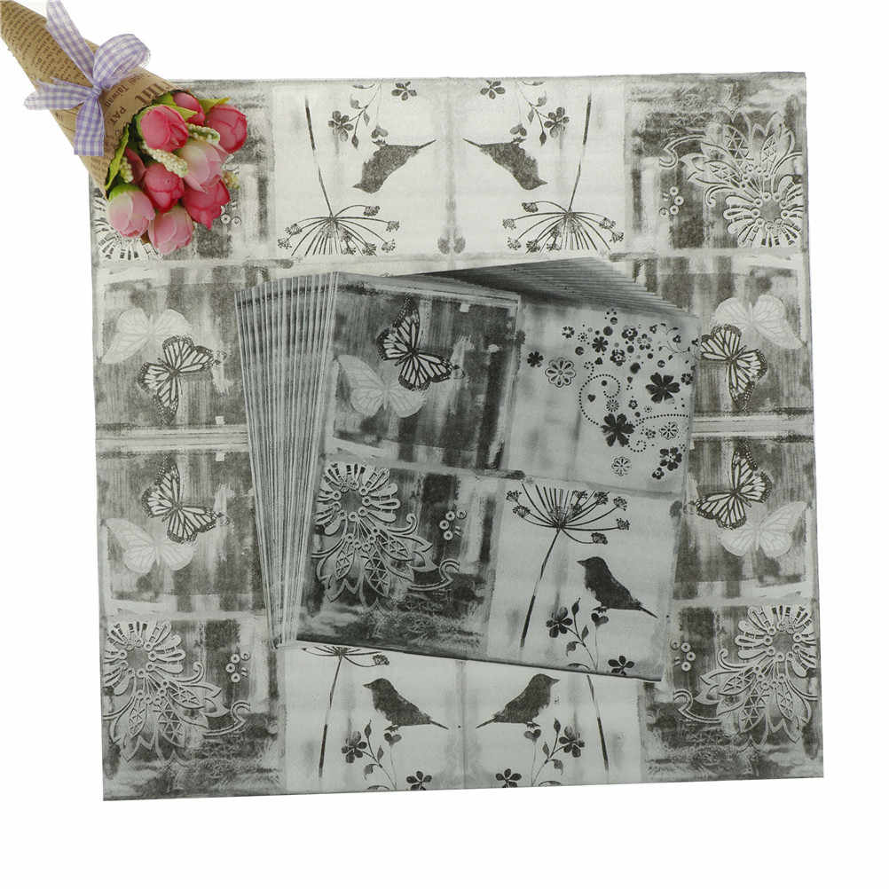 20PCS Flower Bird Butterfly Black White Paper Napkins Table Tissue Vintage Decoupage Wedding Party Festive Decoration