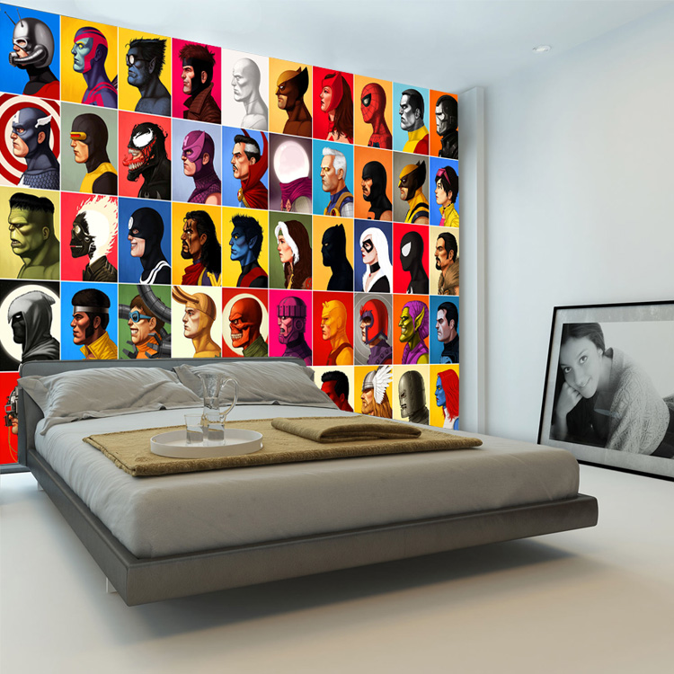 Superhero Comics Wallpaper Spiderman Wall Mural Captain America Photo  Wallpaper Kids Bedroom Wall Covering Avengers Room Decor In Wallpapers From  Home ...