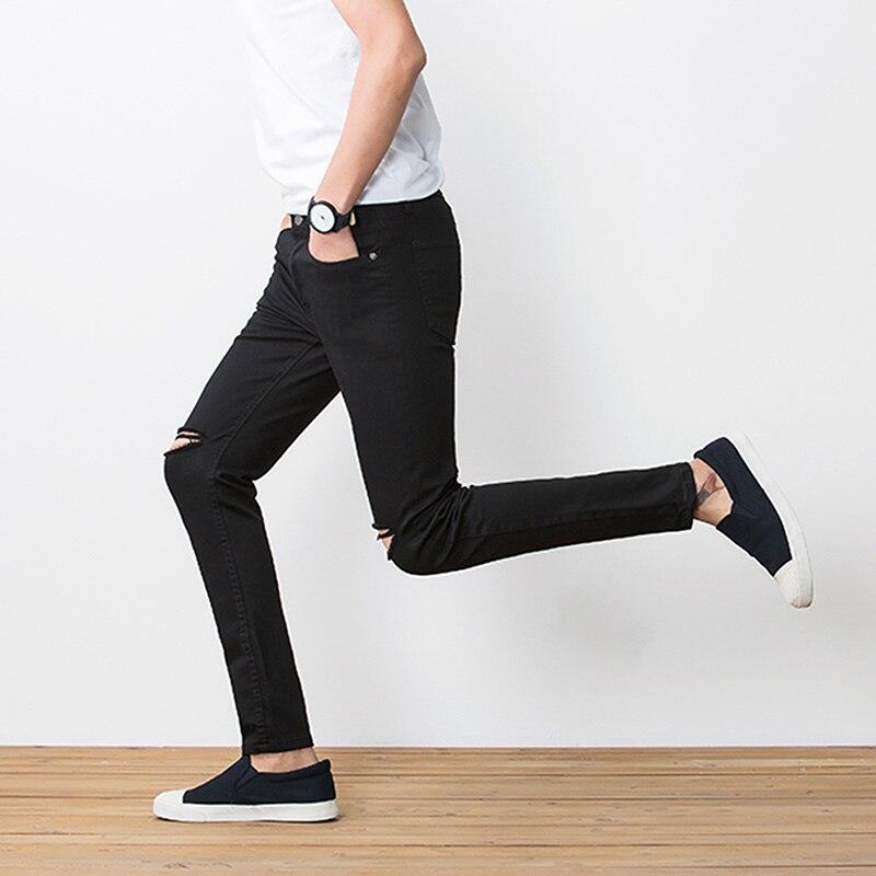 BROKEN HOLE Pant 2017 Skinny New Mænds Bukser Soild Black Slim Man - Herretøj - Foto 3