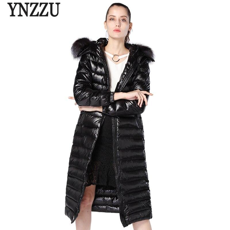 YNZZU Brand Women   Down   Jacket 2018 Winter Luxury Elegant Extra-Long Duck   Down     Coat   Women Real Fox Fur Hood Warm Snow   Coats   YO673