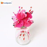 LumiParty 60 Count Striped Drinking Straws With 3D Flamingo Decorative Paper Straws For Wedding Birthday Celebration