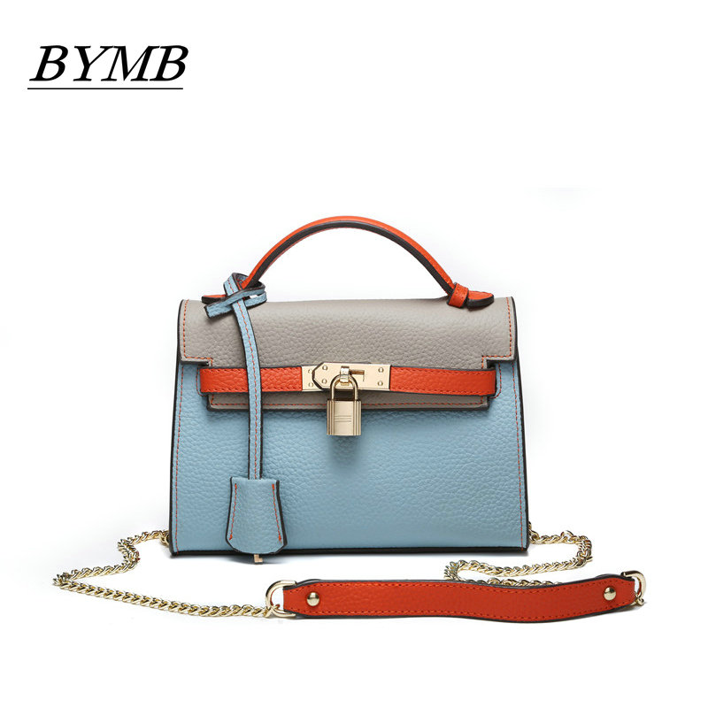 European and American 2017 new lychee grain 100% Genuine leather style leather hand bill of lading shoulder chain women's bag european and american 2017 new lychee grain 100