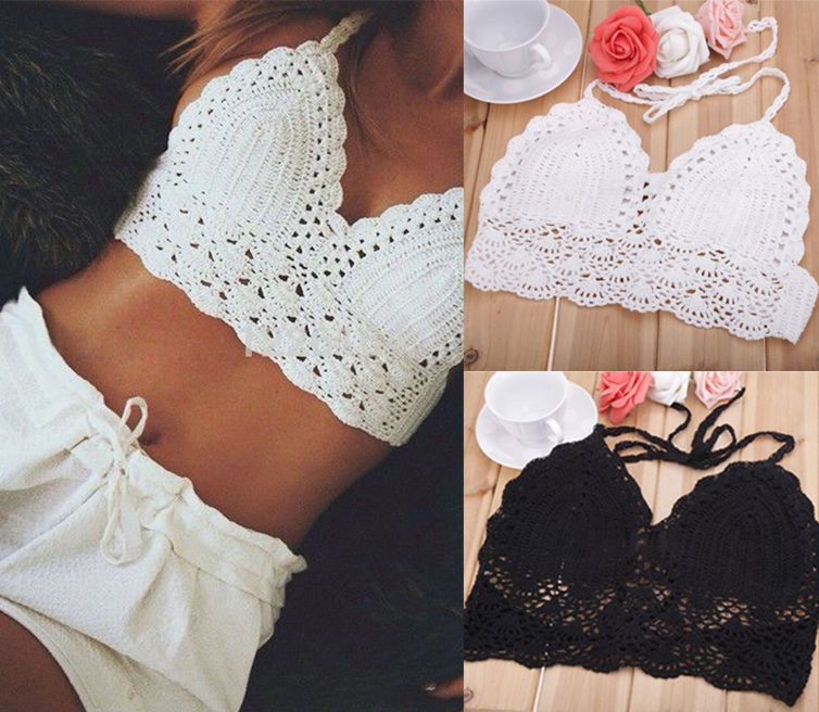 Sexy Women Bra Boho Beach Bikini Crop   Tops   Crochet Knitted Sleeveless Backless Belted   Tank     Tops