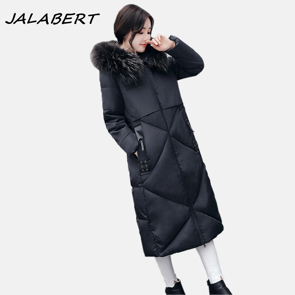 2017 autumn winter new thick women long Slim warm cotton big fur collar coat female zipper hooded parkas jacket 2017 new women winter coat long quilted jacket thick warm solid color cotton parkas female slim hooded zipper outwear okb88
