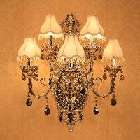 Большой зал Современный Хрустальные настенный светильник мода настенный кронштейн Кристалл k9 серебро Современные Настенные светильники с