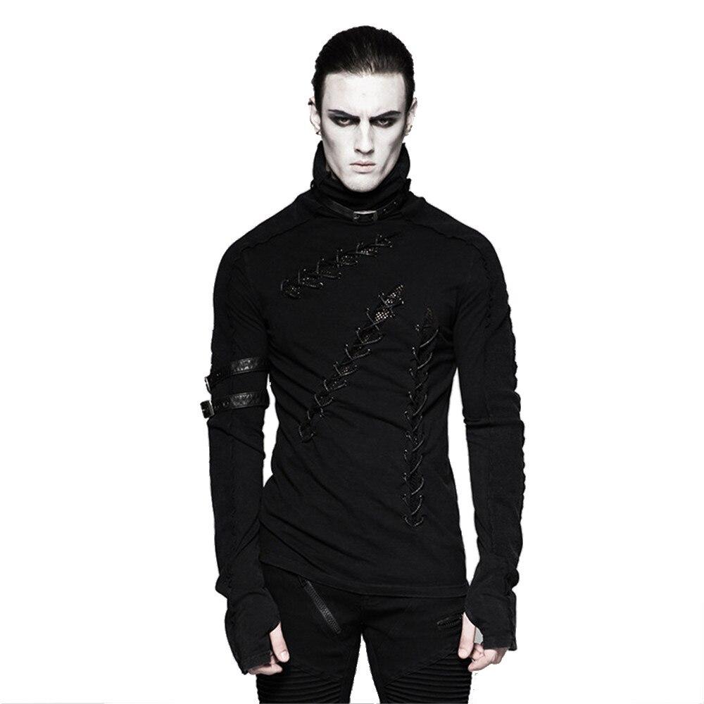 Punk Plusieurs Boucles Hommes T Chemise Automne Fil de Coton Tissu Trou Noir T-shirt Stand-up Collar Shirt Tops