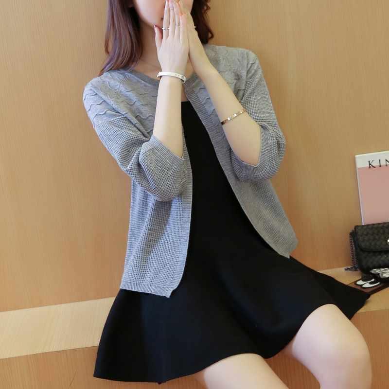 뜨거운 판매 2019 봄 여름 여성 니트 스웨터 짧은 코트 느슨한 o 목 얇은 카디건 들어 갔어 솔리드 목도리 여성 캐주얼 탑스