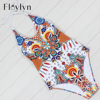 Floylyn New Printed One Piece Swimsuit Women Swimwear Monikini Bathing Suits Beachwear Bandage Trikini One Piece