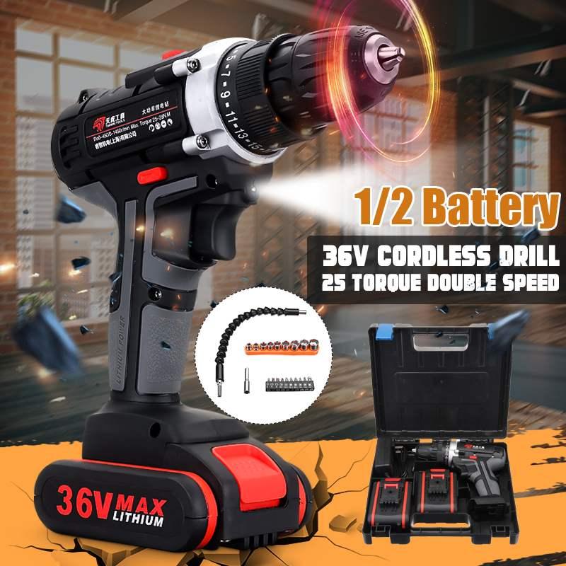 36V Cordless Drill Double Speed Adjustment LED Lighting 2 Battery 25-speed 0-350r/1150r/min