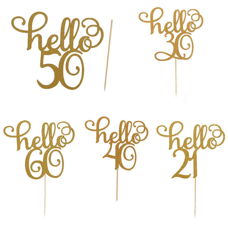 1pcs/set New Gold Glitter 11.5x15cm Hello 30,40 Cake Topper Thirty Birthday Topper Wedding Party Cake Decoration Supplies