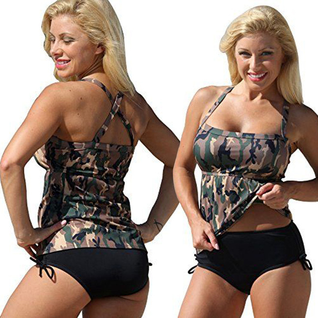 e87f14b24d2 women 2 two piece swimsuit camouflage bikini set Plus size swimwear large  bathing suit feipo 2017 monokini sexy beachwear XXXL