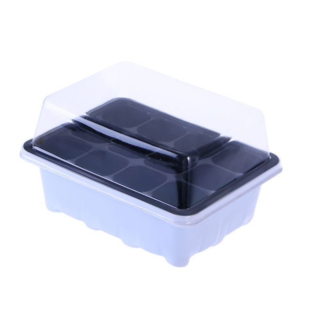 18x14x6CM  Seedling Tray Sprout Plate 12 Cavity Nursery Pots Tray Lids Box for Gardening Bonsai