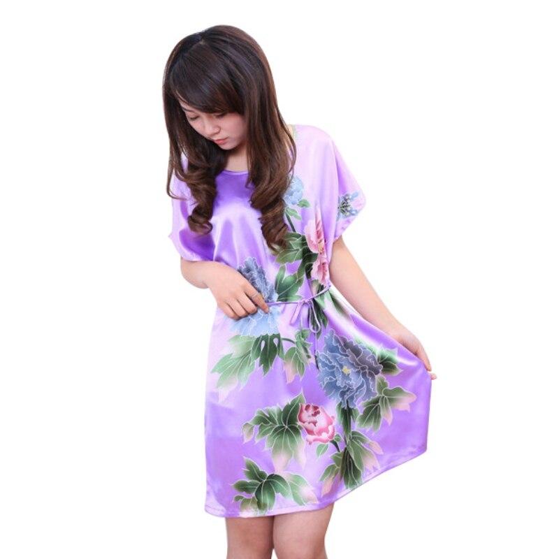 Brand New Chinese Women Robe Silk Satin Robe Sexy Nightshirt Sleepwear Print Bath Gown Summer Casual Home Dress One Size