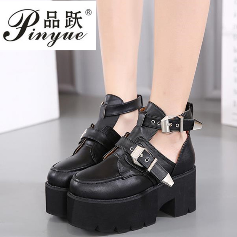 Brand New Silver Buckle Ankle Boots for Women Fashion Cut out Gladiator Low Heel Shoes Motorcycle