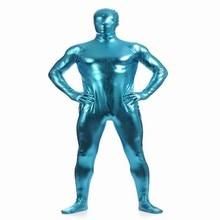 (MZS017) Lake Blue Shiny Metallic Tights for classic halloween costumes Unisex original Fetish Zentai Suits