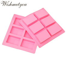 WISHMETYOU 6 Cavity Rectangle Silicone Soap Mold 3D Bar Bake Form Tray Homemade Food Moulds For Plain Making Supply