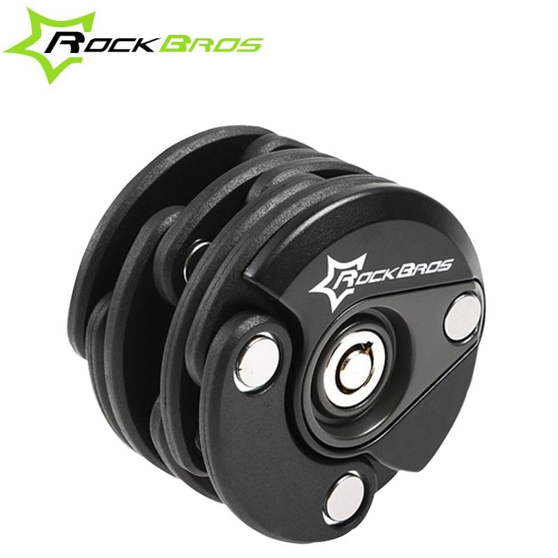 ФОТО ROCKBROS Steel Black Bicycle Lock Bicycle Accessories Bike Lock Anti Theft Mini Foldable Chain Folding Hamberg Locks 50